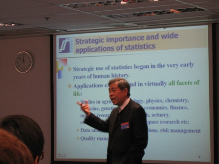 "Mr. Fung, Chairman of the Examination Board delivered a talk on ""A Gateway to Statistical Profession"""