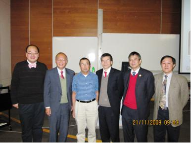 Two speakers with Mr KS Leung and Mr ST Chan from Mathematical Education Section of Education Bureau, Mr. Leslie Tang, President of the Society and Dr Philip Yu, Vice-President of the Society.